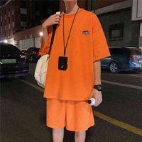 Fojaganto 2-х кусок футболки мода хип-хоп сплошной цвет с коротким рукавом + спортивные шорты S повседневный трексуит мужчин