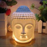 Sachet Taschen qmjhvx keramik buddha kopf statue ölbrenner durchscheinende diffuser wohnkultur miniaturen (weiß)