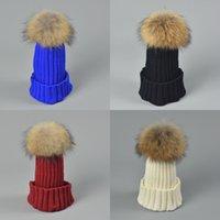 Designer Ladies Knitted Rib Beanies Real Raccoon Dog Hair Ball Children Fancy Plain Fur Pom Winter Hats Womens Mens Kids Skull Slouchy Cap Black Grey Pink 12 Color