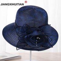Jiangxihuue pérolas chapéu de som-sombreamento feminino verão rendas flores chapéu de sol anti-uv chapéu de praia dobrável igreja larga