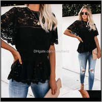 T-Shirt Tops T-Shirts Kleidung Kleidung Kleidung Drop Lieferung 2021 Womens Mode Lightweight Kurz FLOWY SLEVES Glam White Lace Peplum Top AQ6JC