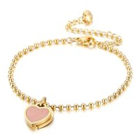 Charm Bracelets Women Party Jewelry Pink Heart Pendant Rose Gold Color Stainless Steel Bracelet Bead Chain Bangles