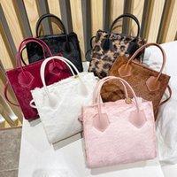 Winter Rabbit Fur Solid Color Bucket Bag Mobile Phone Shoulder Messenger Bags Simple Handbag
