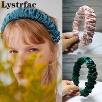 Lystrfac Color sólido plisado diadente ruchada para las mujeres de la moda de la moda brotes de limpieza de la pelubra Tendencia de la bucle de pelo accesorios femeninos