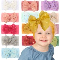 13 Colors Baby Girl Lace Nylon Headband fashion soft Candy Color Bohemia Bow Girl Infant Hair Accessories Headband
