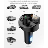 T66 자동차 블루투스 키트 5.0 FM 송신기 무선 핸즈프리 오디오 수신기 자동 MP3 플레이어 2.1A 듀얼 USB 빠른 충전기 액세서리