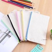 5 couleurs bricolage blanc canvas sac de stylo peinture glisser la fermeture à glissière crayon stylos sacs papeterie élégant pochette de stockage cosmétique grande capacité LLB10083