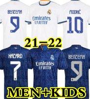 21 22 ريال مدريد الفانيلة قميص كرة القدم لكرة القدم Alaba Hazard Benzema Asensio Marcric Marcelo Camiseta 2021 2022 Casemiro Kroos ISCO Men + Kids Kit