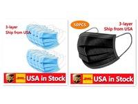 Em estoque preto descartável face máscaras 3-camadas proteção sanitária máscara ao ar livre com voz alta