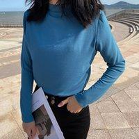 Kadın T-shirt Ctrllock Turtleneck Katı Renk Baz Kadın T-shirt Sonbahar Uzun Kollu Ince Dip Pamuk Gömlek Moda G4 Tops