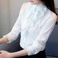 White Blouse Women Fashion Full Sleeve Shirt Casual Elegant Collar Ruffled Office Lady Tops Female Wear Women's Blouses & Shirts