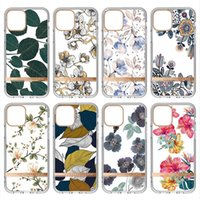 Luxury Electroplate Plating Transparent TPU PC Cases Clear Plated Leaf Flower For Samsung S20 Plus S21 FE Note 20 Ultra A51 A71 A52 A72 A12 5G