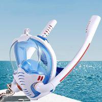 Diving Masks Mask Adult Men Women Scuba Double Snorkel Full Face Anti-Fog Goggles Equipment Underwater Swimming Snorkeling