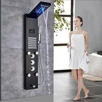 Luxe geborsteld nikkel badkamer kraan led douche paneel kolom badkuip mixer Tik op het scherm met de hand temperatuur