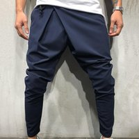 Men Long Casual Irregular Pants Gym Slim Trousers New Solid Running Joggers Gym Drawstring Sashes Long Sweatpants