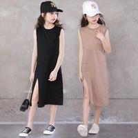Teenage Girls Summer Fashion Girl Dress Elastic Split Vest Kids Princess For Clothes Children Costume 12 14 Year