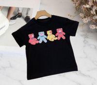 إلكتروني الطباعة الزى 2021 مصممين الاطفال طفلة بوي تي شيرت بولو كيد قمصان الدب لطيف عارضة أسود أبيض ملابس الأطفال 90-130 سنتيمتر
