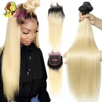 Human Hair Bulks Facebeauty 4 By Lace Closure With Bundles 3 Remy Brazilian Straight Ombre 1B 613 Blonde 4x4