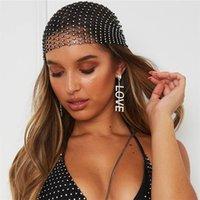 Yeni Moda Kadınlar Bling Rhinestone Kafa Eşarp Türban Şapka Kafa Kristal Örgü Kap Saç Snood Nets Başlığı Şapkalar Accessorie 768 Q2