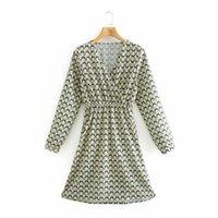 Robes décontractées Mode Femmes Diamant Plaid imprimé V Robe au cou F femme à manches longues Vêtements Vestido D6905