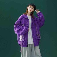 2021 New Bomber Jacket Men And Women Ribbons Zipper Outerwear Fashion High Street Loose Coat Baseball Male Female Jacket Coat