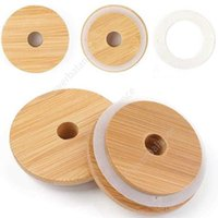 Mason Lids Reusable Bamboo Caps Lids with Straw Hole and Silicone Seal for Mason Jars Canning Drinking Jars Lid DHP36
