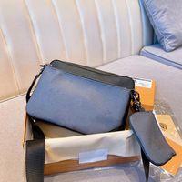 패션 3 조각 남자 대각선 크로스 가방 고전 편지 디자인 핸드백 크로스 바디 메신저 어깨 가방 체인 가방 좋은 품질 PU 가죽 지갑 상자