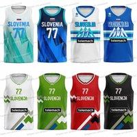 2021 Токио Олимпиада Словения Баскетбол Джерси Лука Долень # 77 Goran Dragic # 7 Пользовательские рубашки Мужчины Женщины Дети