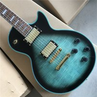 Custom high-quality electric guitar, blue, maple flame top. Gold parts,