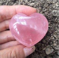 Natural Rose Quartz Heart Shaped Pink Crystal Carved Palm Love Healing Gemstone Lover Gife Stone Gems Sea Shipping Kke4339