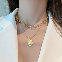 Punk Multilayered Gold Chain Choker Necklace For Women Fashion Irregular Round Pendant Vintage Jewelry Necklaces