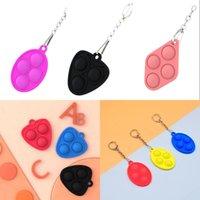 Decompression Toy Fidget Simple Dimple Keychain Push BubbleParty Favor Toys Key Chain Anti Stress Board 4135 Q2