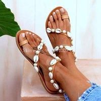 Women Flat Sandels Summer Shoes 2021 Shell Pearl Sandals Flip Flop Female Beach Peep Toe Ladies Sandal Shoe Big Size