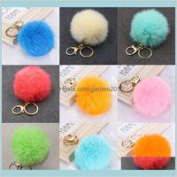Party Favor Event & Supplies Festive Home Garden Hairy Fur Ball Keychains Car Key Holder Pom Keybuckle Lanyard Fashion Wallet Plush Ke