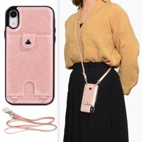 Necklace Chain Leather Phone Case for iPhone 12 mini 11 Pro XR X XS Max 7 8 Plus Strap Cord Rope with Wallet Cover
