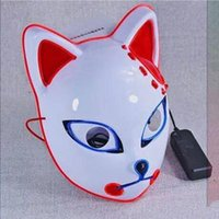 Demon Slayer Fox Mask Halloween Party Japanese Anime Cosplay Costume LED Masks Festival Favor Props high quality