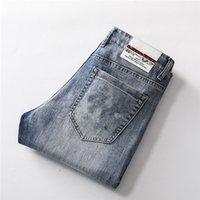 21ss Moda Pamuk Tasarımcı Erkek Kot Pantolon Bel Mükemmel Fit Düğmesi Artırın Metal Silika Jel Materia Uygun Sewingl