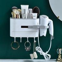 Hair Dryer Rack Plastic Wall Mount Drying Machine Holder Bracket Bathroom Storage Supplies Adjustable Hooks & Rails