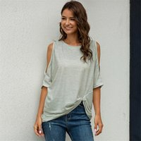 Women's T-Shirt Summer 2021 Solid Color Cotton Female Tops O-Neck Off-The-Shoulder Woman Basic T-shirts Pullover Women Clothes