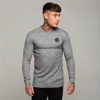 Machinefitness Masculino Slim Fit Sleeve Longa Suéters Mens Primavera Moda de Malha Camisa Casual O-Pescoço Pullovers Homens Brand Roupas de marca 7Y3L