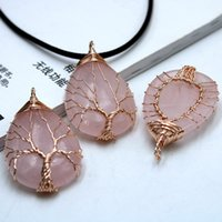 Natural crystal stone necklace tree of life powder crystal pendant love shaped original stone neck chain Handmade