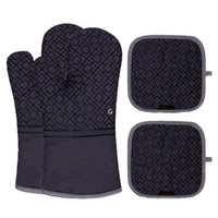 Oven Mitts red Plastic heat- insulating Polyester cotton mate...