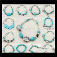 Gunst Event Festliche Partei Supplies Home Garten Drop Lieferung 2021 Mode Türkis Sideway Elefant Kreuz Stretch Armband Perlen Bracele
