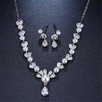 Ekopdee Luxury Elegant White Gold Cubic Zircon Jewelry Set Crystal CZ Earrings Necklace For Women Bride Wedding Gift &
