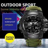 Adies assistir militar com bússola homens tendem à prova d 'água stopwatch stopwatch despertador esporte relógio de pulso digital montre homme 210407
