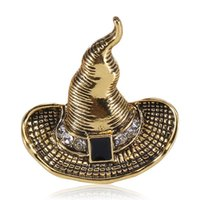 Pins, Brooches CINDY XIANG Fashion Halloween For Women And Men Cartoon Metal Witch Ghost Hat Pins Brooch Funny Party Jewelry Gift