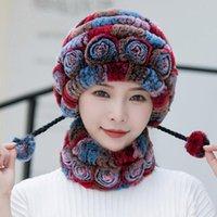 Beanie / Crânio Tampas Inverno Mulheres Flores Listrado Natural Rex Peles Chapéus Cachecol Senhora Quente Malha Russo Outdoor
