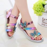 Sandals Summer Rhinestone For Girls Shoes Kids Fashion Sequins Butterfly Children Flat Sandles Outdoor Soft Sole Sandalias