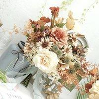 Flores de boda Vintage Brides Brides Bouquets para pofografía Peonía de seda Ramo falso