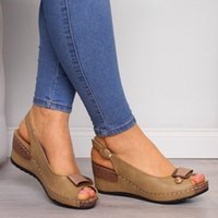 Dress Shoes 2021 Summer Woman Wedge Casual Sandals Ladies Fashion Classic Cork Sole Peep Toe Gray Brown Zapatos De Mujer